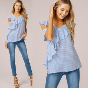 JESSIE Ruffle Detail Top - BLUE